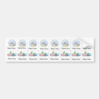 Fish Turtle sippy cup labels Bumper Sticker