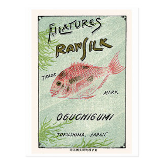 Fish Vintage Japanese Silk Label Postcard