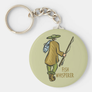 Fish Whisperer Fishing Basic Round Button Key Ring