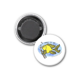 Fish with a Drink, Drinking Fish cute funny comics 3 Cm Round Magnet