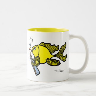 Fish with a Drink, Drinking Fish cute funny comics Two-Tone Mug