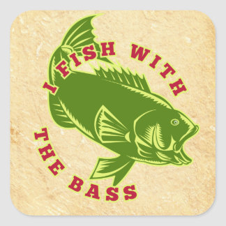 Fish With Bass Square Sticker
