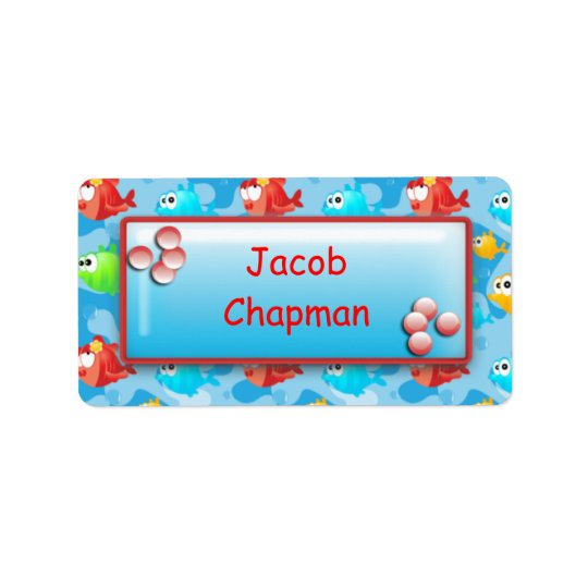Fish with Bubbles - Boys School Name Labels
