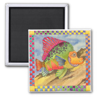 Fish with Checkered Border #1 Square Magnet