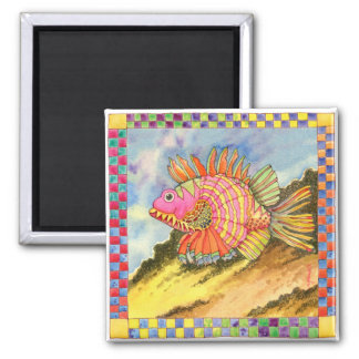 Fish with Checkered Border #2 Square Magnet