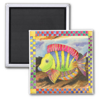 Fish with Checkered Border #3 Square Magnet