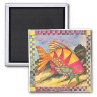 Fish with Checkered Border #4 Square Magnet