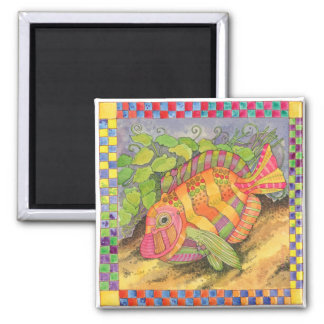 Fish with Checkered Border #5 Square Magnet