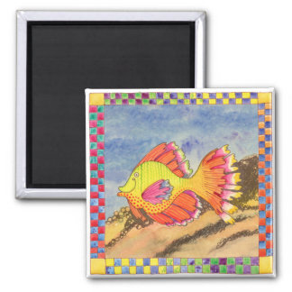 Fish with Checkered Border #6 Square Magnet