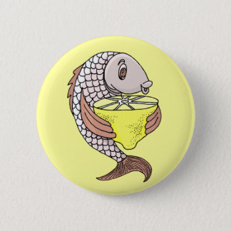 Fish With Lemon 6 Cm Round Badge