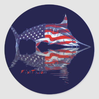 Fish with reflections collection round sticker