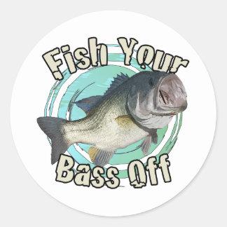 Fish your bass off round sticker