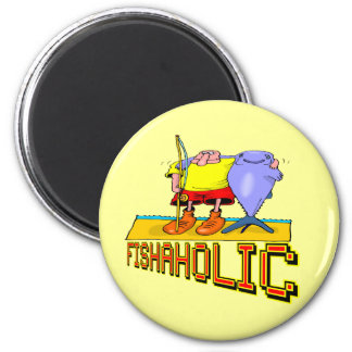 Fishaholic Fishing T-shirts and Gifts 6 Cm Round Magnet