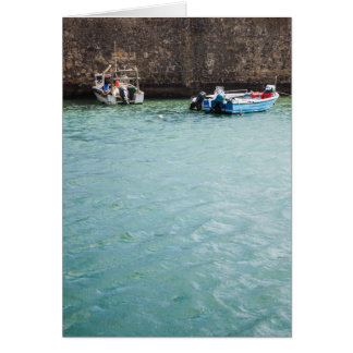 Fishboat in harbour Portugal Card