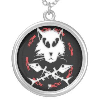 fishbone gato round pendant necklace