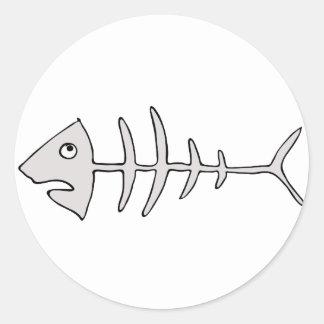 fishbone round sticker