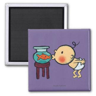 Fishbowl Kisses Orange Goldfish Square Magnet