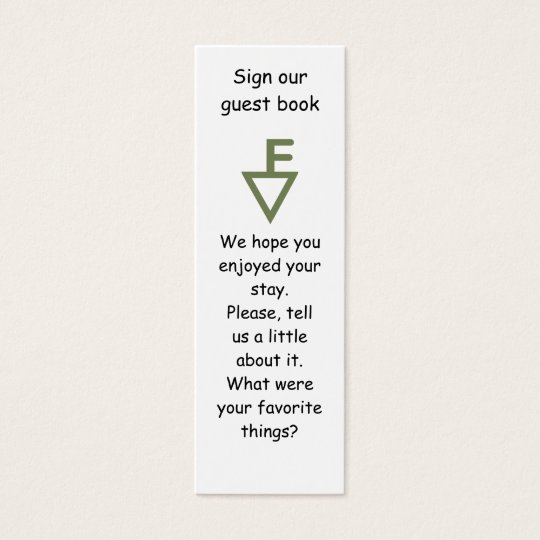 Fisher Family Guest Book Marker Mini Business Card