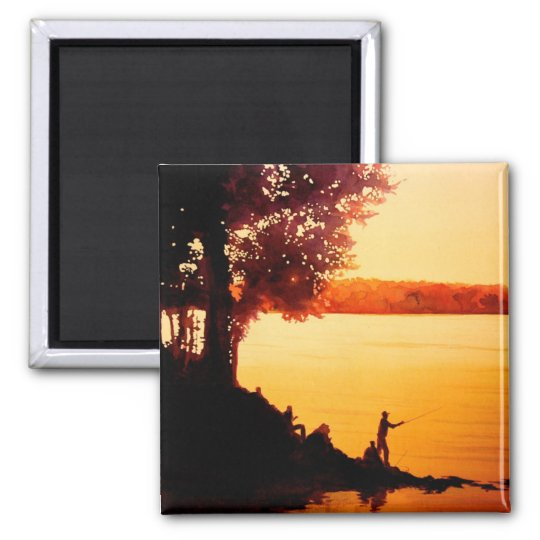 """Fisher People"" Fishing Landscape Watercolor Square Magnet"
