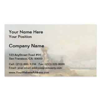 Fisherfolk and Catch by the Sea by William Shayer Business Card Templates