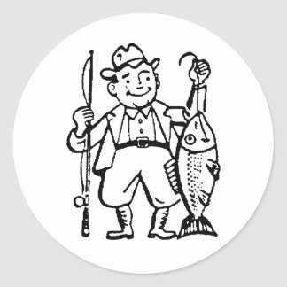 Fisherman and His Catch Round Sticker