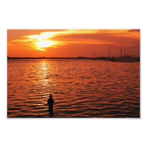 fisherman and sunset photo print
