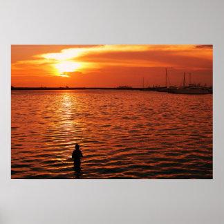 fisherman and sunset print