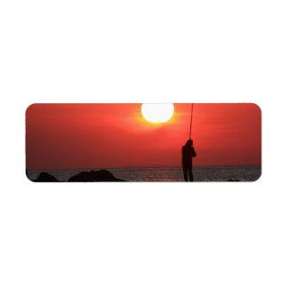 fisherman at sunset Avery label Return Address Label