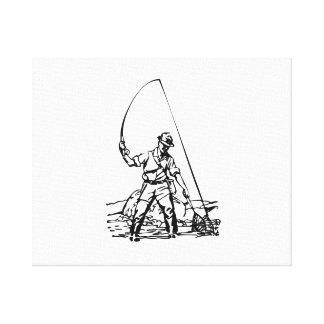 Fisherman Fishing Gallery Wrap Canvas