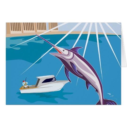 fisherman fishing catching blue marlin card