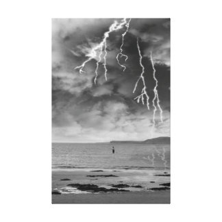 fisherman fishing in a thunder storm gallery wrap canvas