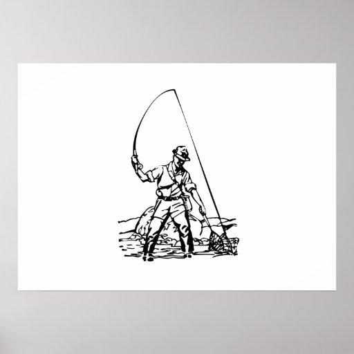 Fisherman Fishing Poster