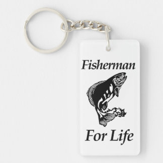 Fisherman For Life Double-Sided Rectangular Acrylic Key Ring
