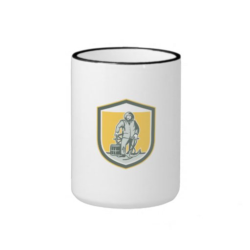 Fisherman Holding Anchor Wheel Shield Retro Coffee Mug