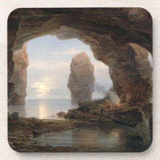Fisherman in a Grotto, Helgoland, 1850 (oil on can Coaster