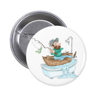 Fisherman in a tub 6 cm round badge
