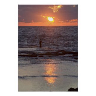 Fisherman in Byblos at sunset, Lebanon Poster