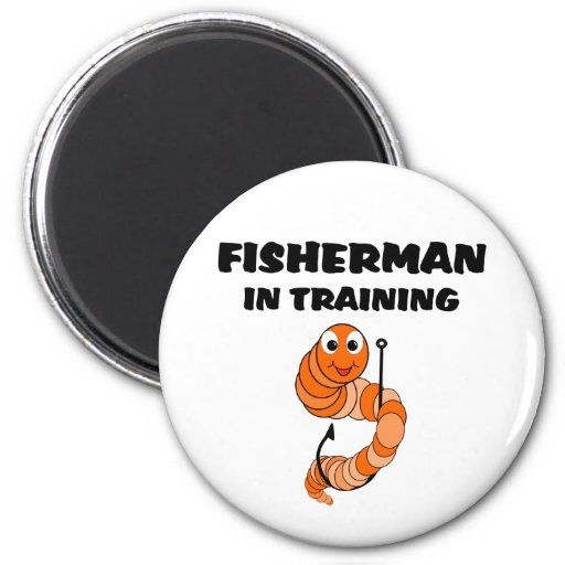 Fisherman In Training 6 Cm Round Magnet
