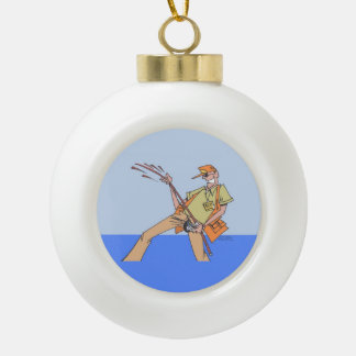 Fisherman Inside Christmas ball Ceramic Ball Christmas Ornament