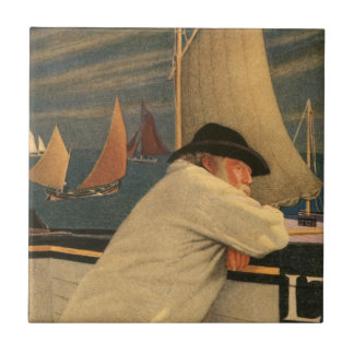 Fisherman Joseph Southall Sailboat Nautical Ocean Small Square Tile