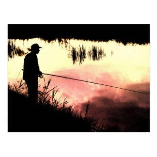 Fisherman nature beautiful scenery postcard