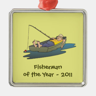 Fisherman of the Year award - lazy boat day Christmas Ornament
