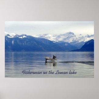 fisherman on Leman lake Poster