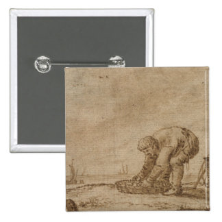 Fisherman on the Sea Shore, 1623 15 Cm Square Badge