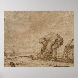 Fisherman on the Sea Shore, 1623 Poster