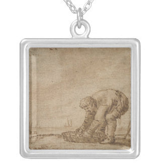 Fisherman on the Sea Shore, 1623 Silver Plated Necklace