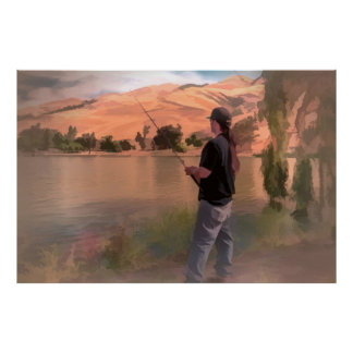 Fisherman painting on a poster