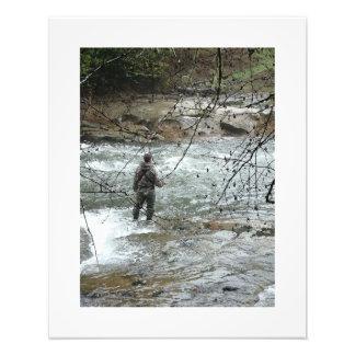 Fisherman River Steelhead Trout Fly Fishing Rapids Photographic Print