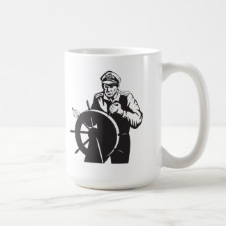 Fisherman Sea Captain At Helm Retro Coffee Mugs