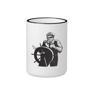 Fisherman Sea Captain At Helm Retro Coffee Mug